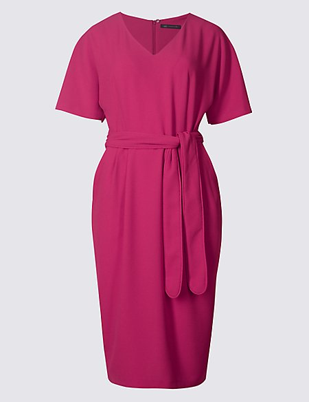 2e421de1e06 Kimono Tie Short Sleeve Shift Dress