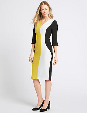 Colour Block 3/4 Sleeve Bodycon Dress