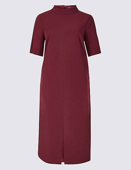 Heavy Crepe Half Sleeve Shift Dress