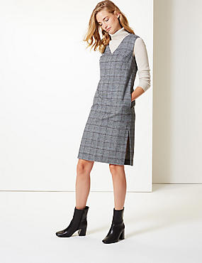 Checked V-Neck Tunic Dress