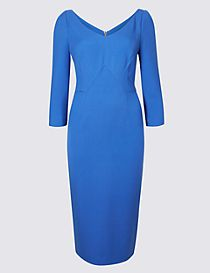 V-Neck Panel Detail ¾ Sleeve Bodycon Dress