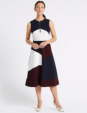Colour Block Skater Dress