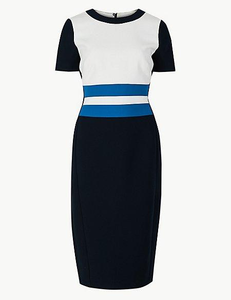 Colour Block Short Sleeve Bodycon Dress