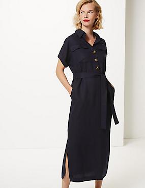 c7f67cbd60 Linen Blend Midi Shirt Dress. M&S Collection