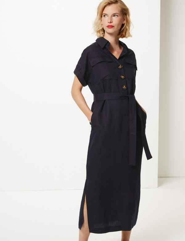 742c5eea27a2d Linen Blend Midi Shirt Dress