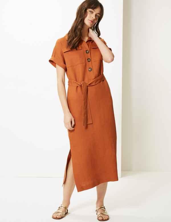 35c83e31fc Linen Blend Midi Shirt Dress