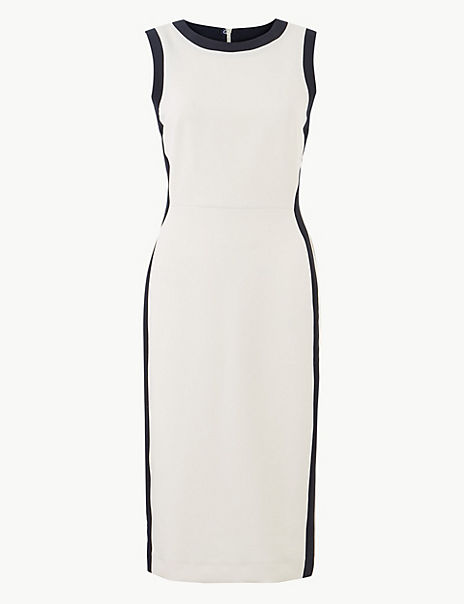 Colour Block Side Stripe Bodycon Midi Dress