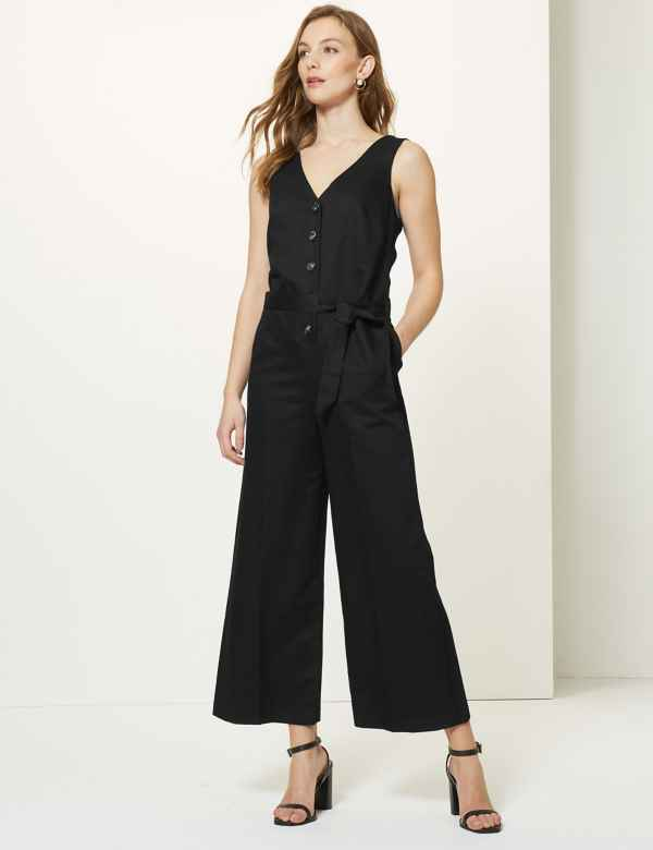 6202236e38b Linen Rich Button Detailed Jumpsuit