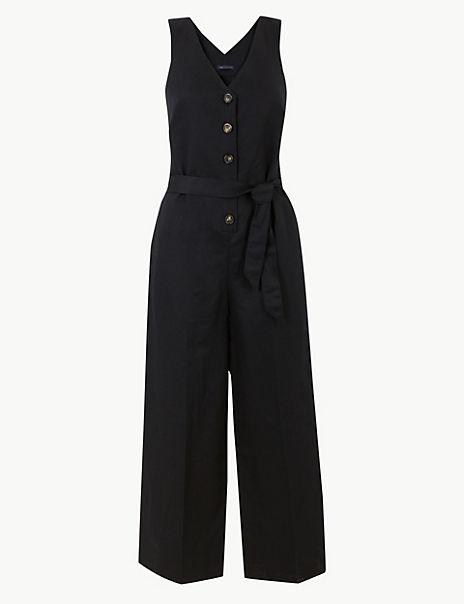 Linen Rich Button Detailed Jumpsuit