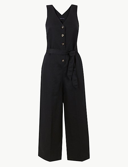 Linen Rich Button Detailed Jumpsuit