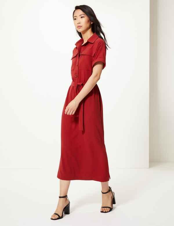 66de66e290 Crepe Tie Front Maxi Shirt Dress