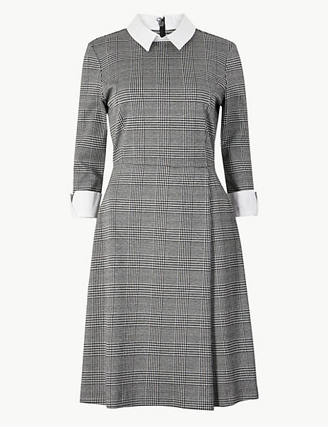 Checked Fit & Flare Midi Dress