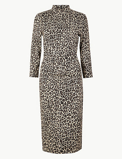 Jersey Animal Print Midi Bodycon Dress