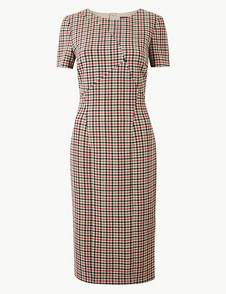 Checked Knee Length Bodycon Dress