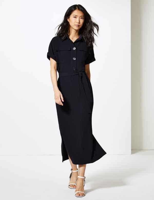 a58f4123f852b8 Linen Mix Dresses | Linen Mix Tunic Dress for Women | M&S