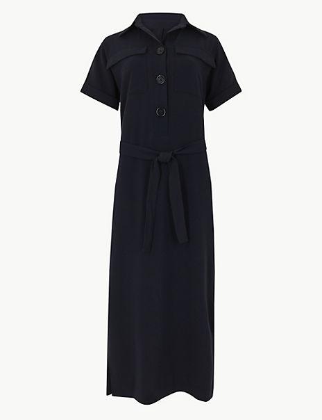Button Detailed Shirt Midi Dress
