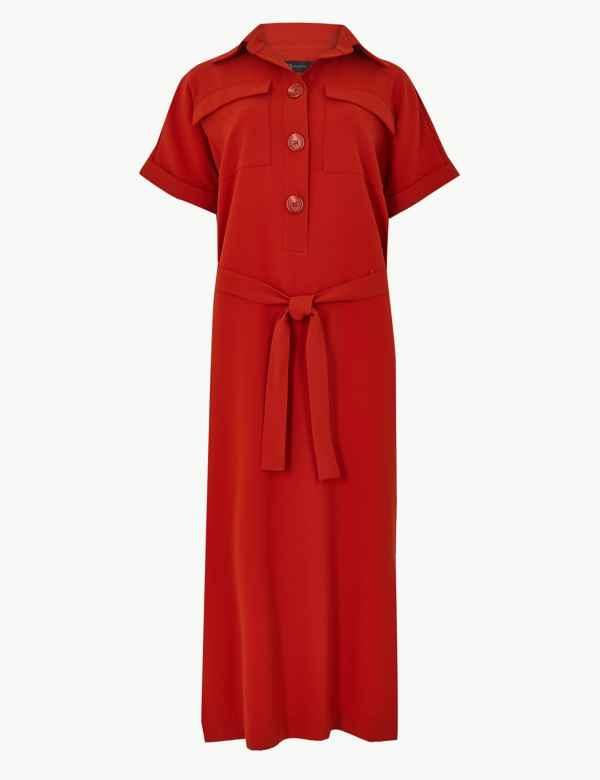 55e633892d6c2a Button Detailed Midi Shirt Dress