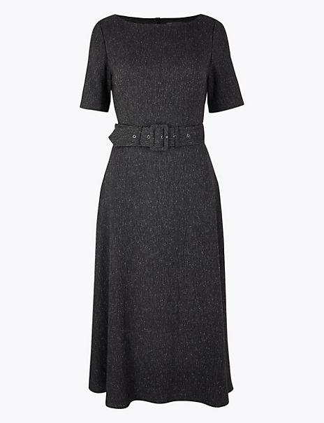 Belted Herringbone Fit & Flare Midi Dress