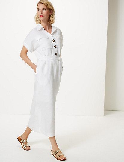 8d59d8b2e7d Linen Blend Patch Pocket Shirt Midi Dress