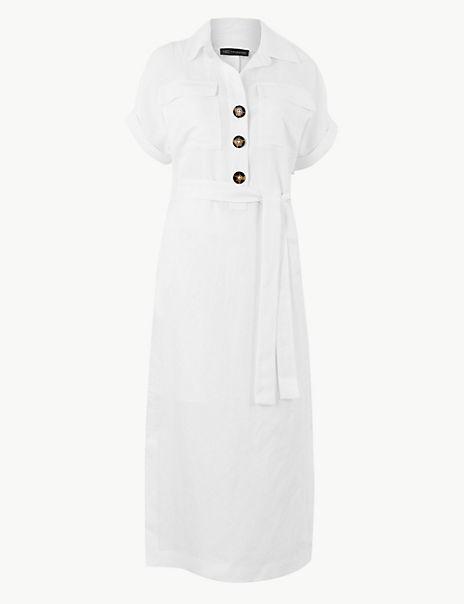 Linen Blend Patch Pocket Shirt Midi Dress