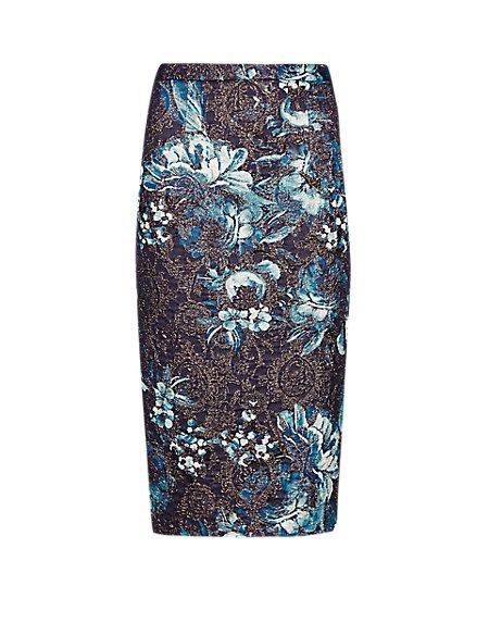 Floral Metallic Pencil Skirt
