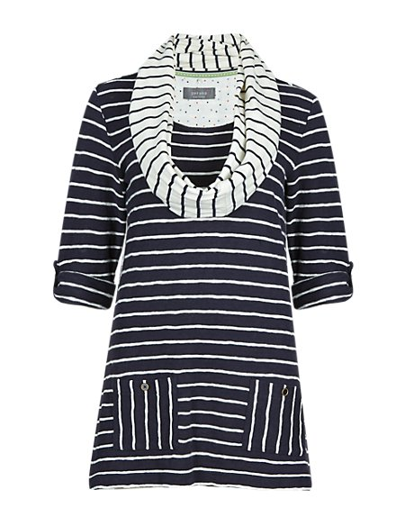 Pure Cotton Striped Tunic with Scarf
