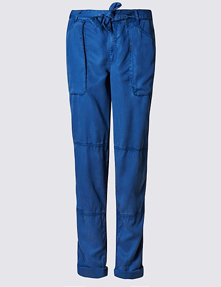 Cargo Tapered Leg Trousers with Belt