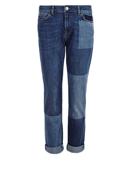 Patch Cinch Back Boyfriend Denim Jeans