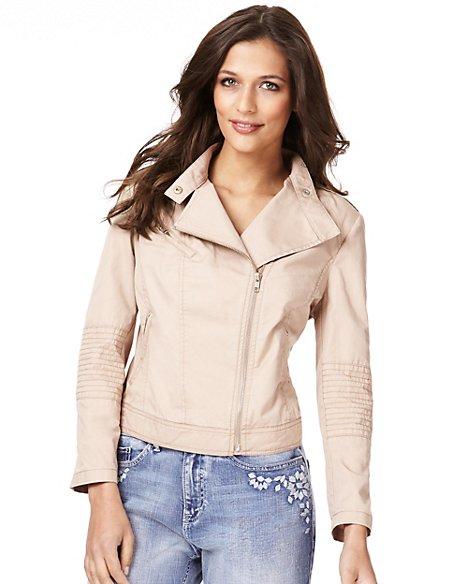 Pure Cotton Twill Biker Jacket
