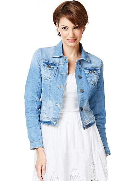 Pure Cotton Washed Look Denim Jacket