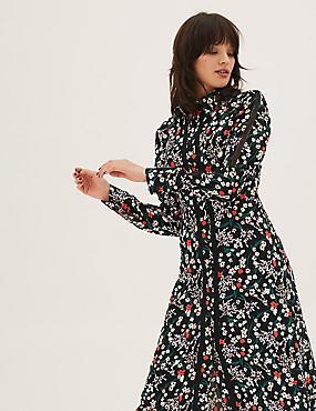 Floral Lace Insert Midi Shirt Dress