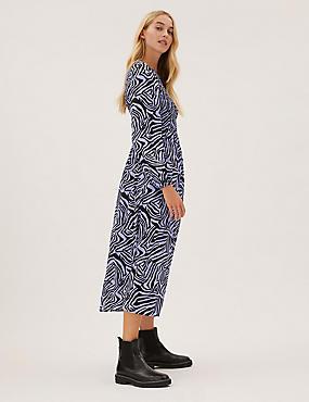 Μίντι φόρεμα με σούρες και animal print
