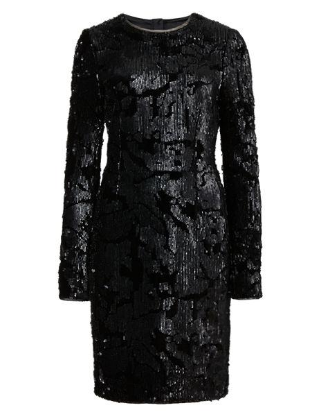 Sequin Embellished Velvet Dress