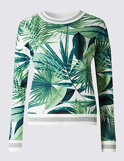 Cotton Rich Loose Fit Palm Print Top Clothing