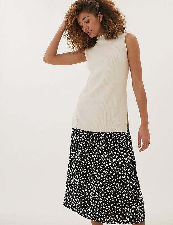 Heart Print Midaxi A-Line Skirt