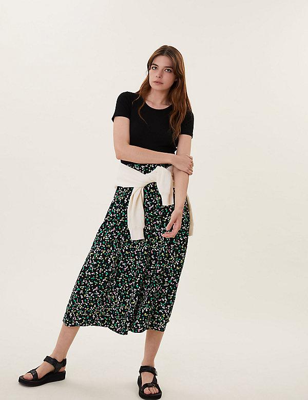 Floral Midaxi A-Line Skirt