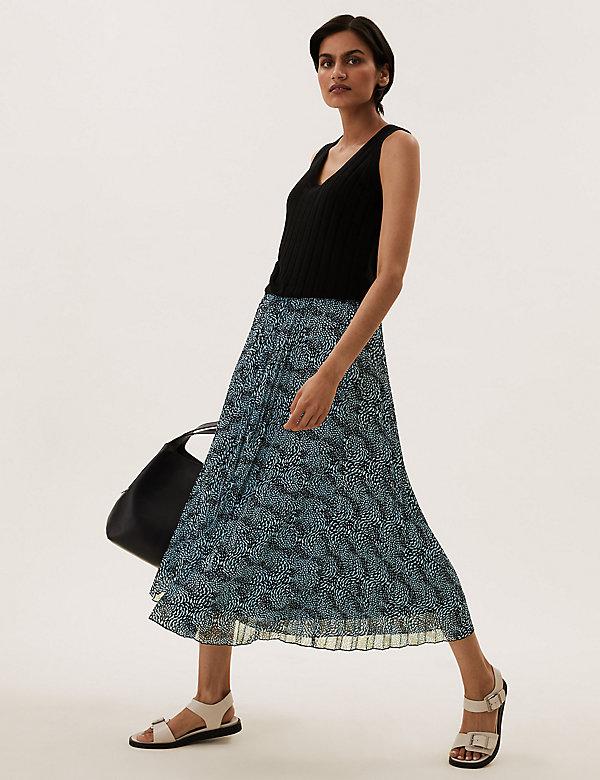 Printed Pleated Midaxi Skirt