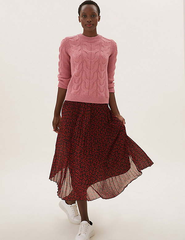 Floral Pleated Midaxi Skirt
