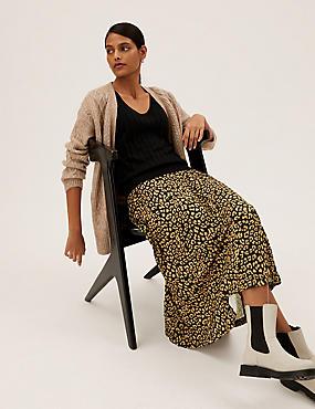Jersey Animal Print Pleated Midaxi Skirt
