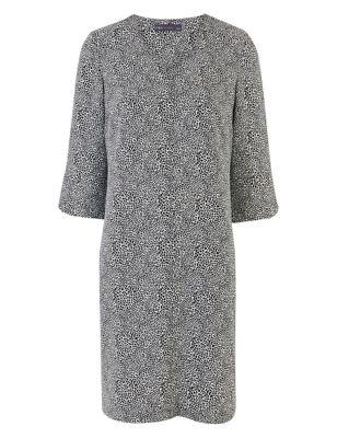 Crepe Animal Print V-Neck Shift Dress