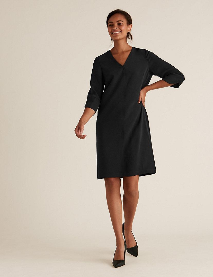 V-Neck Knee-Length Shift Dress
