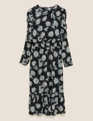 Floral Puff Sleeve Midi Waisted Dress