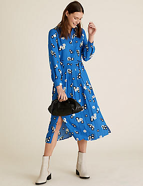 Floral Collared Tie Front Midi Shirt Dress