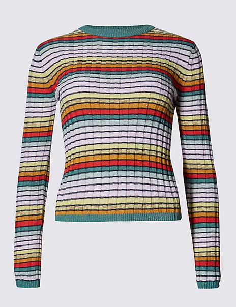 Cotton Rich Metallic Effect Rainbow Striped Jumper