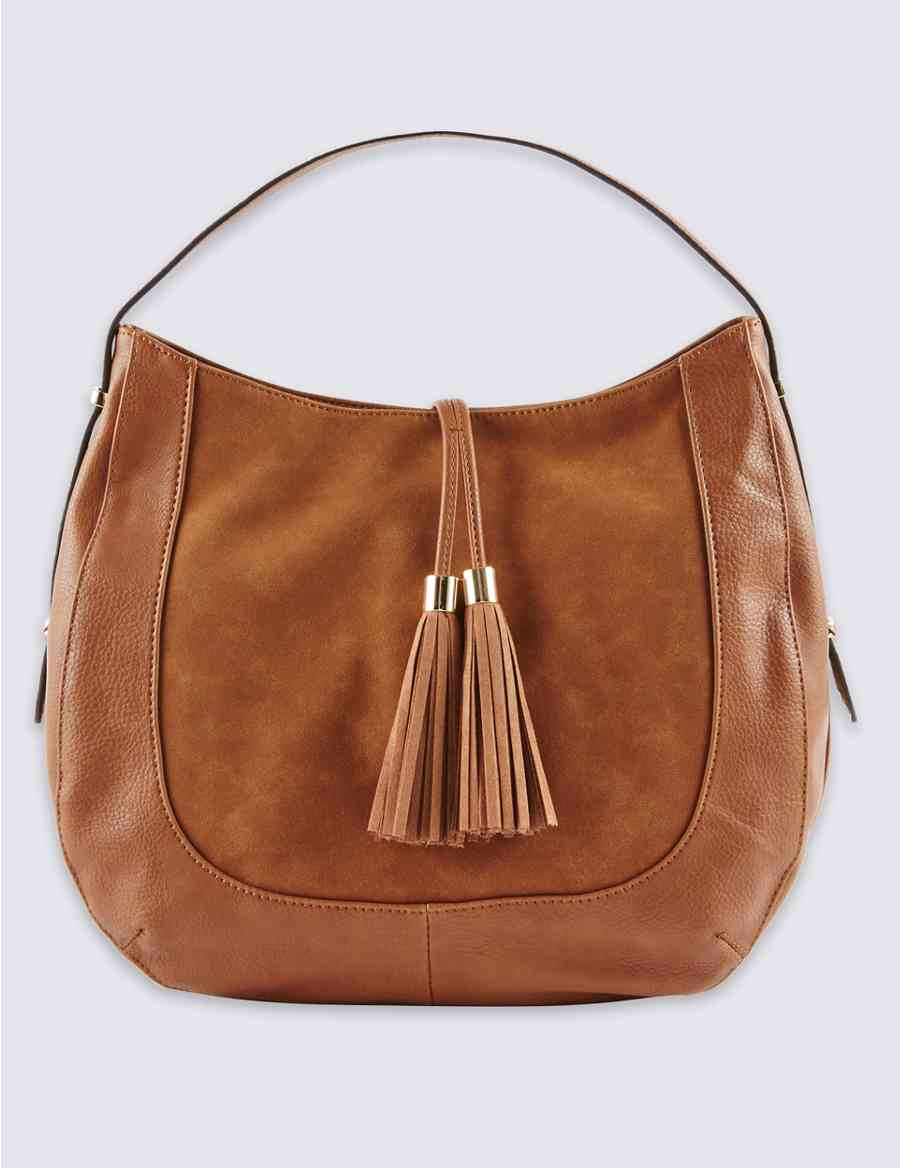 a7dde08d8e Faux Leather Tassel Hobo Bag