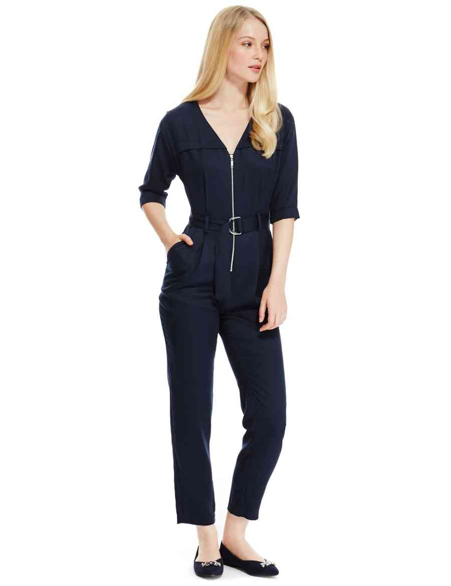 c096f02f2d6 PETITE Zipped Front Belted Jumpsuit