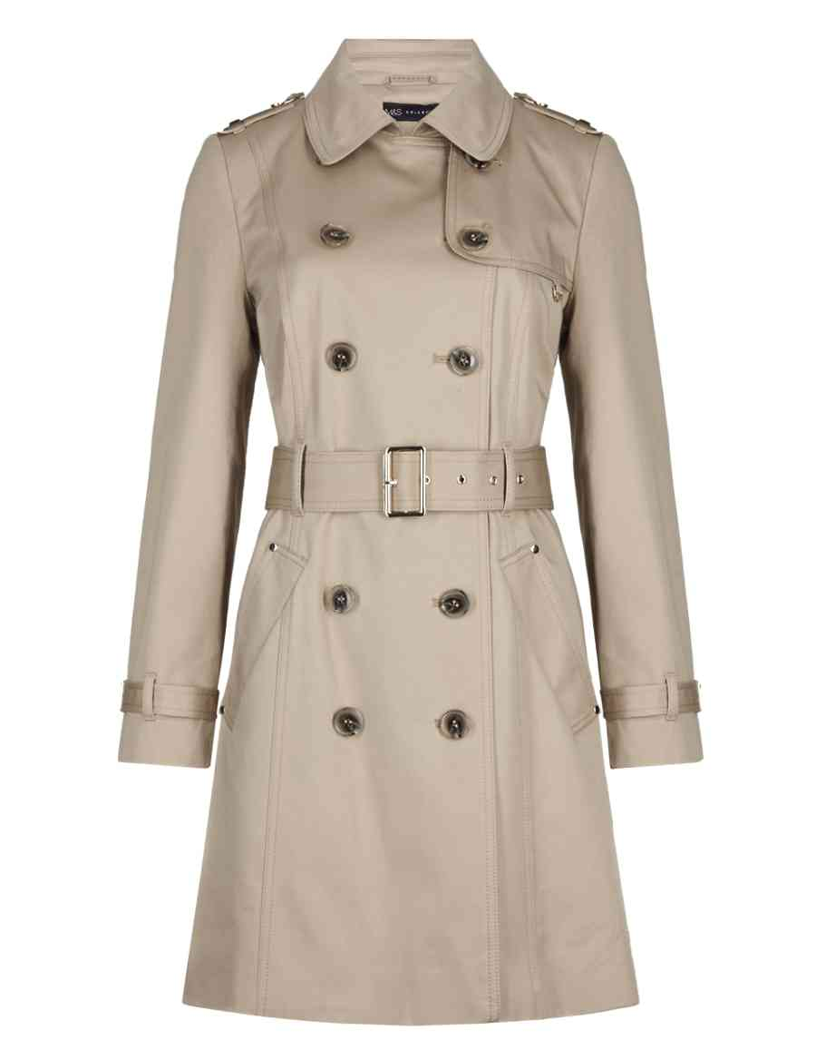 ec3837f2487 Product images. Skip Carousel. PETITE Pure Cotton Double Breasted Belted  Trench Coat ...