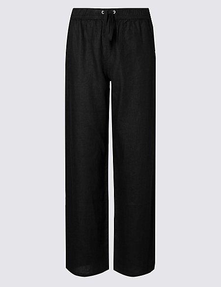 PETITE Pure Linen Wide Leg Trousers