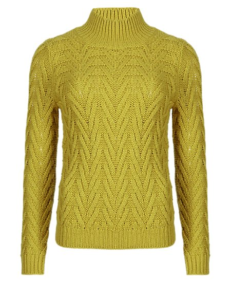 PETITE Cheveron Stitch Funnel Neck Jumper with Wool