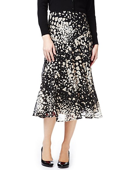 Petite Spotted Panelled Skirt